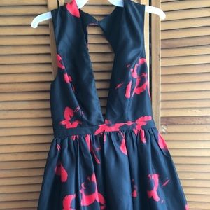Dark Floral deep cut dress